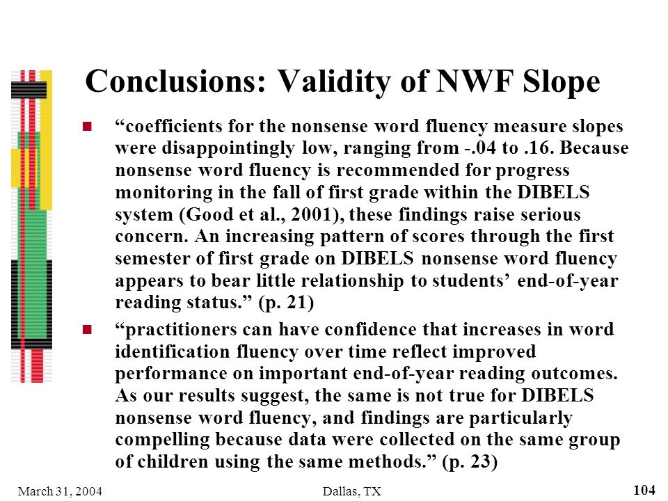 Conclusions: Validity of NWF Slope