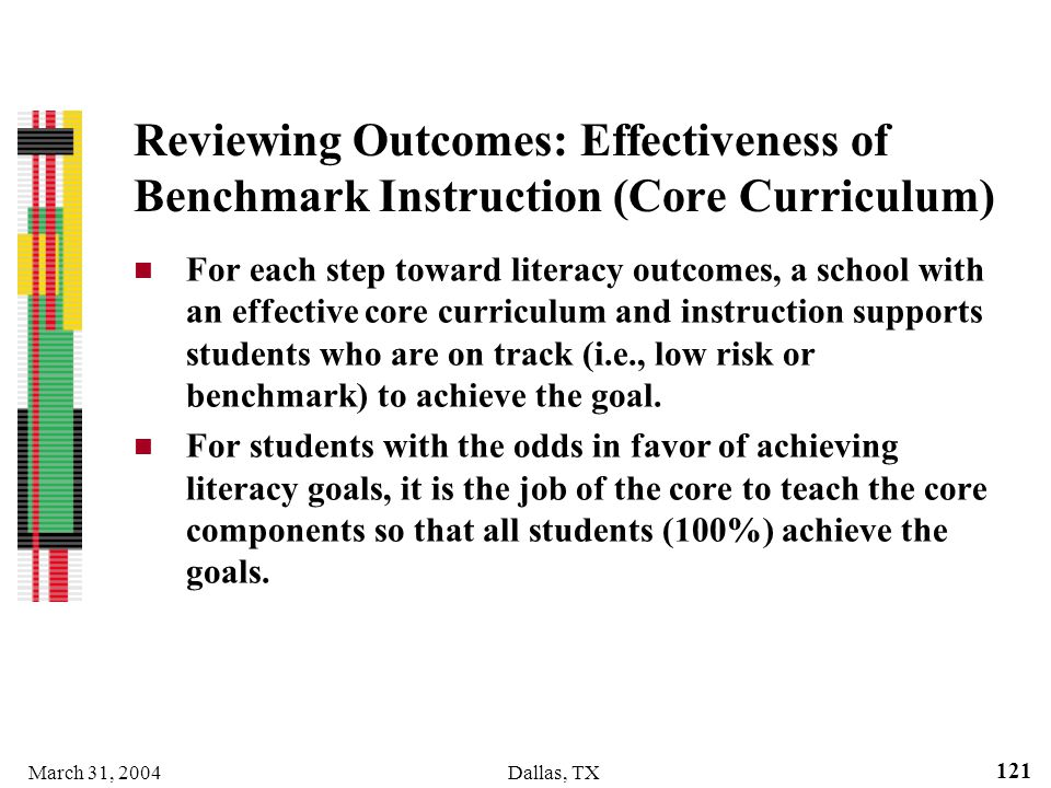 Reviewing Outcomes: Effectiveness of Benchmark Instruction (Core Curriculum)