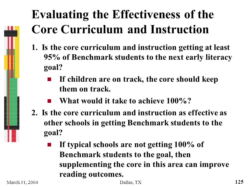 Evaluating the Effectiveness of the Core Curriculum and Instruction