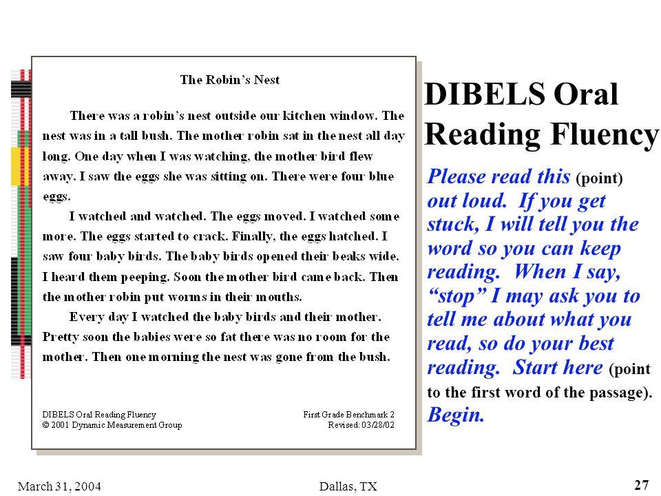 DIBELS Oral Reading Fluency