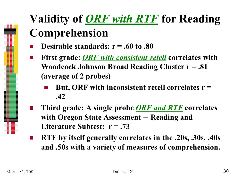 Validity of ORF with RTF for Reading Comprehension