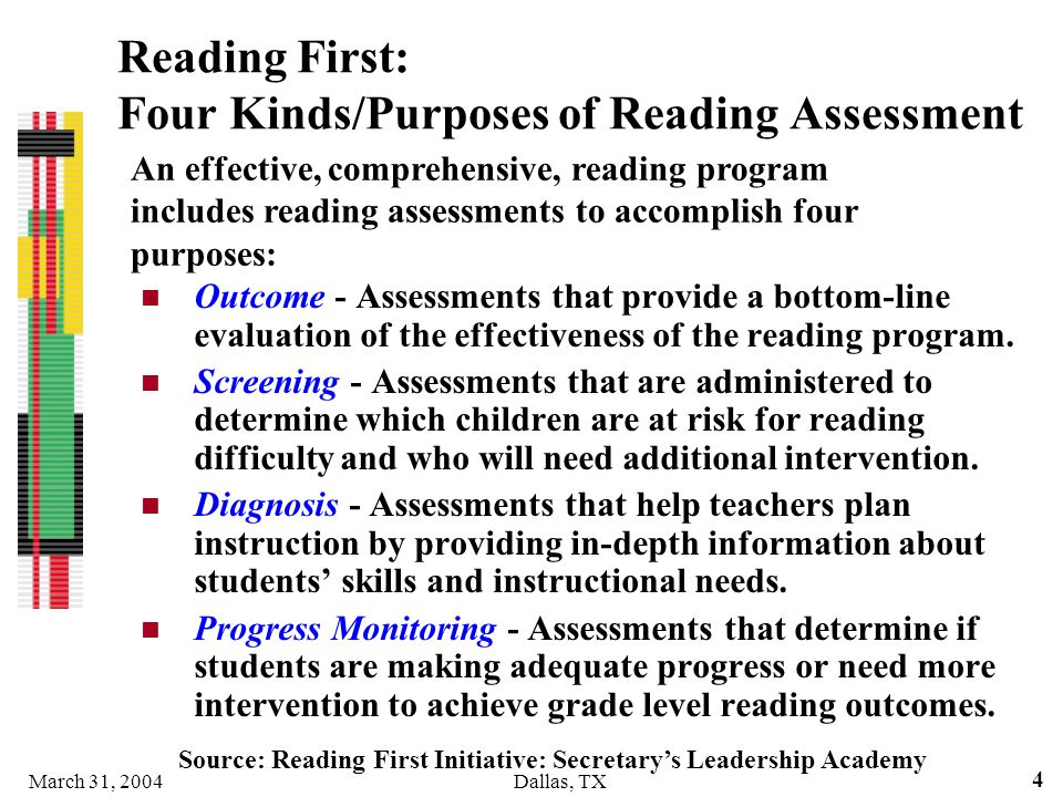 Reading First: Four Kinds/Purposes of Reading Assessment