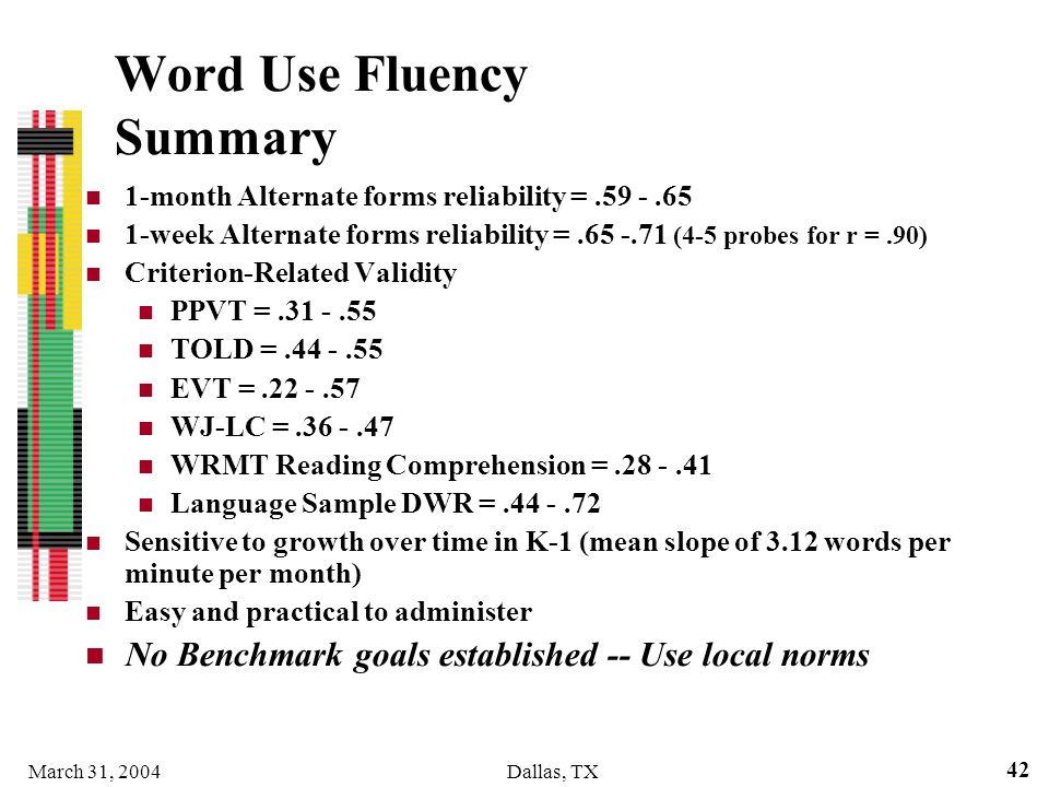 Word Use Fluency Summary