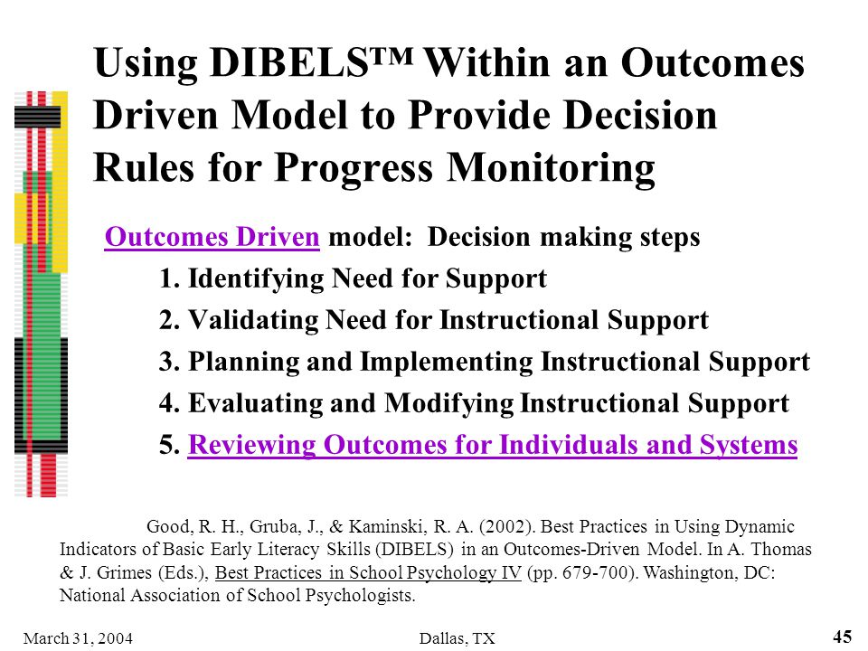 Using DIBELS™ Within an Outcomes Driven Model to Provide Decision Rules for Progress Monitoring