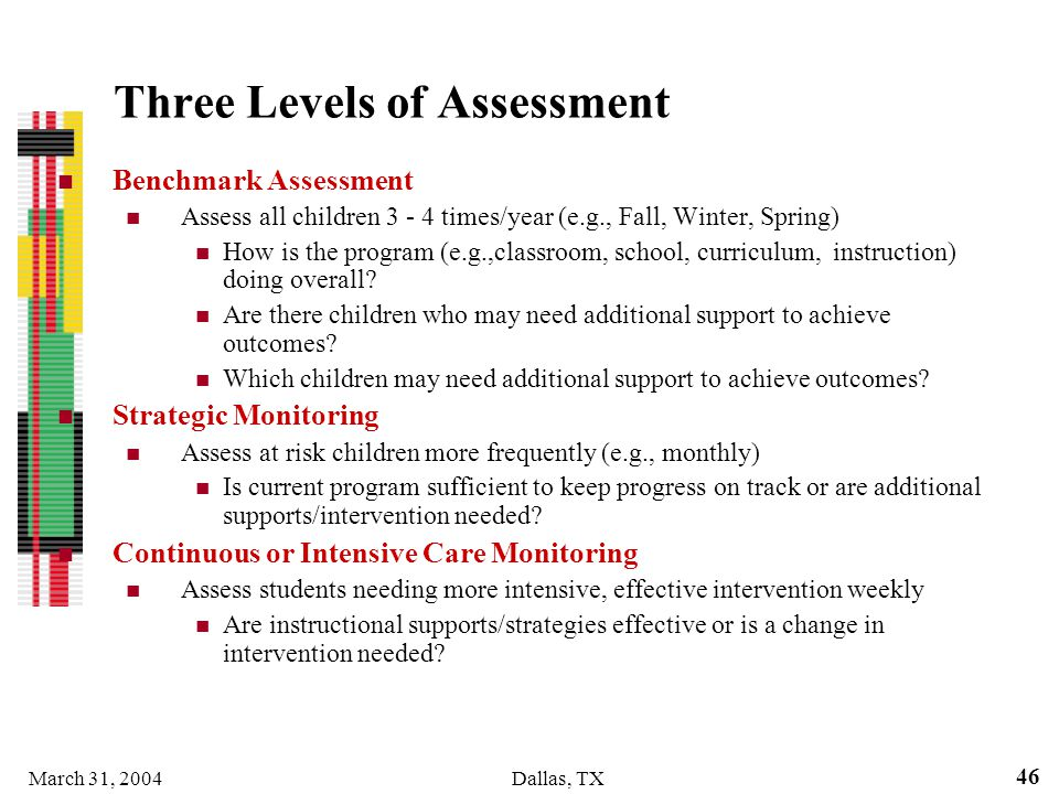Three Levels of Assessment
