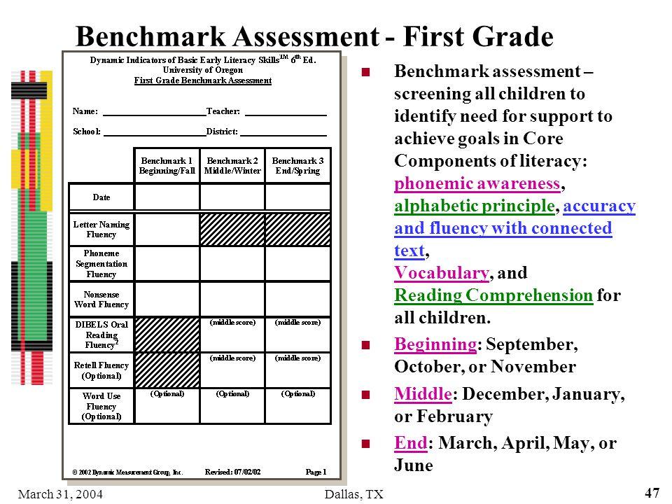 Benchmark Assessment - First Grade