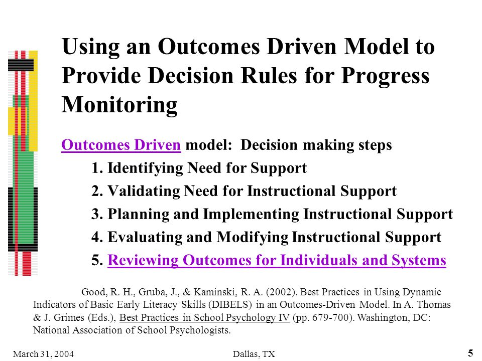 Using an Outcomes Driven Model to Provide Decision Rules for Progress Monitoring