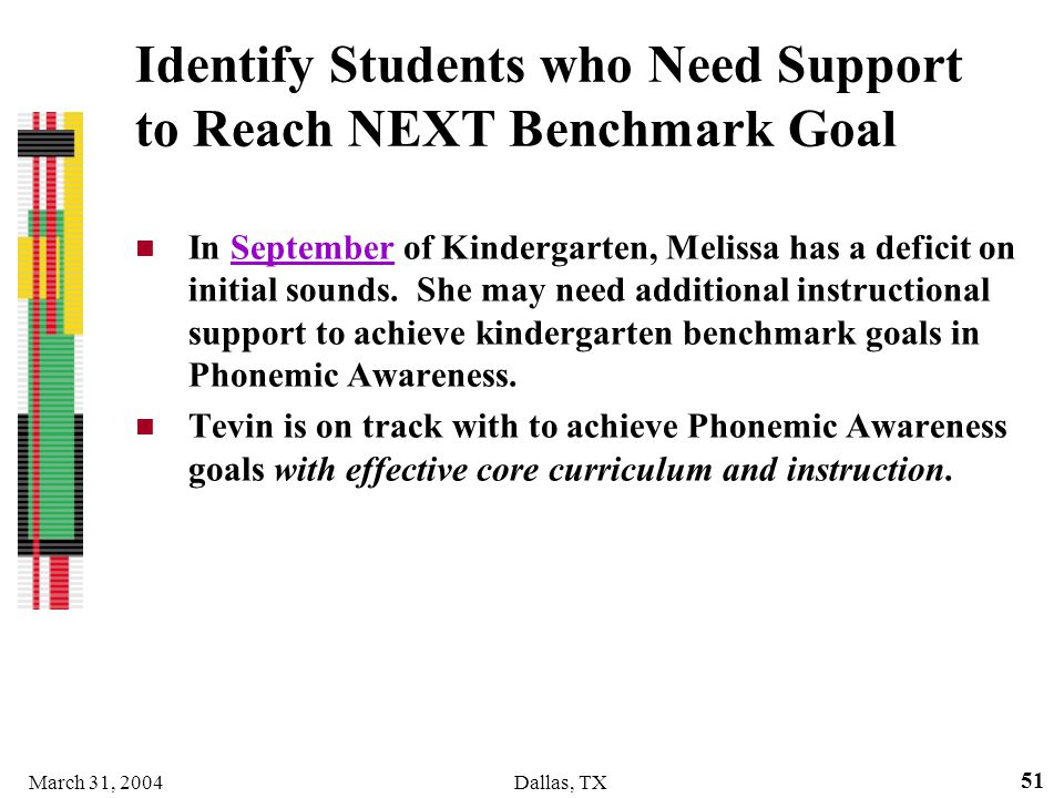 Identify Students who Need Support to Reach NEXT Benchmark Goal