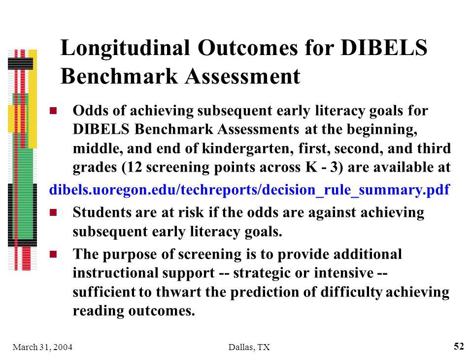 Longitudinal Outcomes for DIBELS Benchmark Assessment