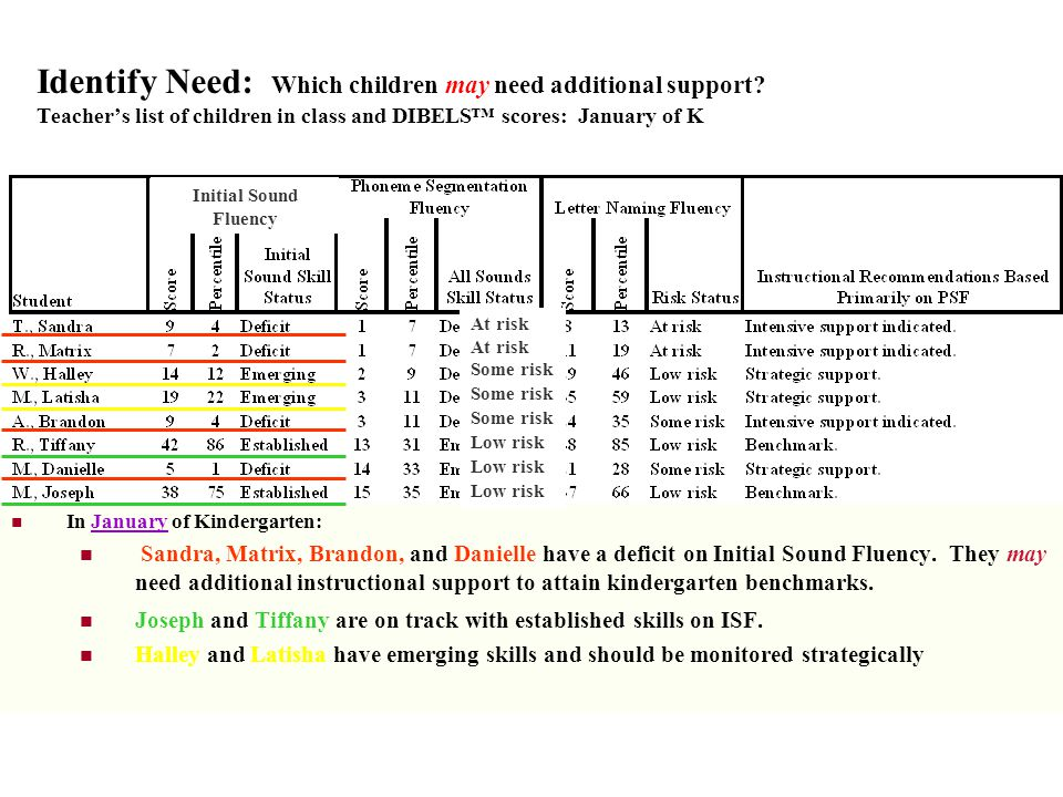 Identify Need: Which children may need additional support