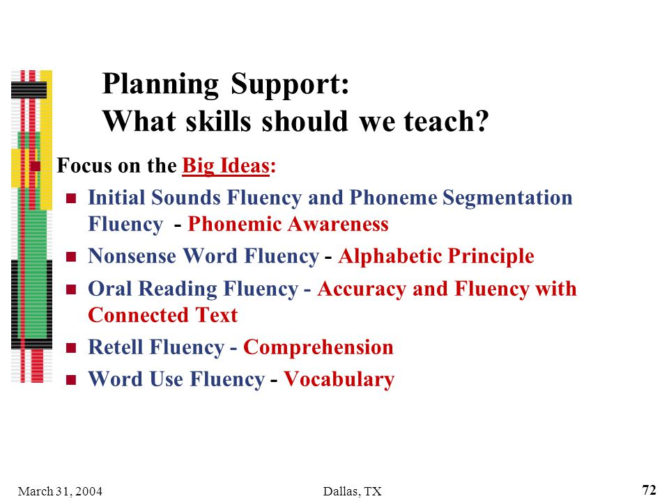Planning Support: What skills should we teach