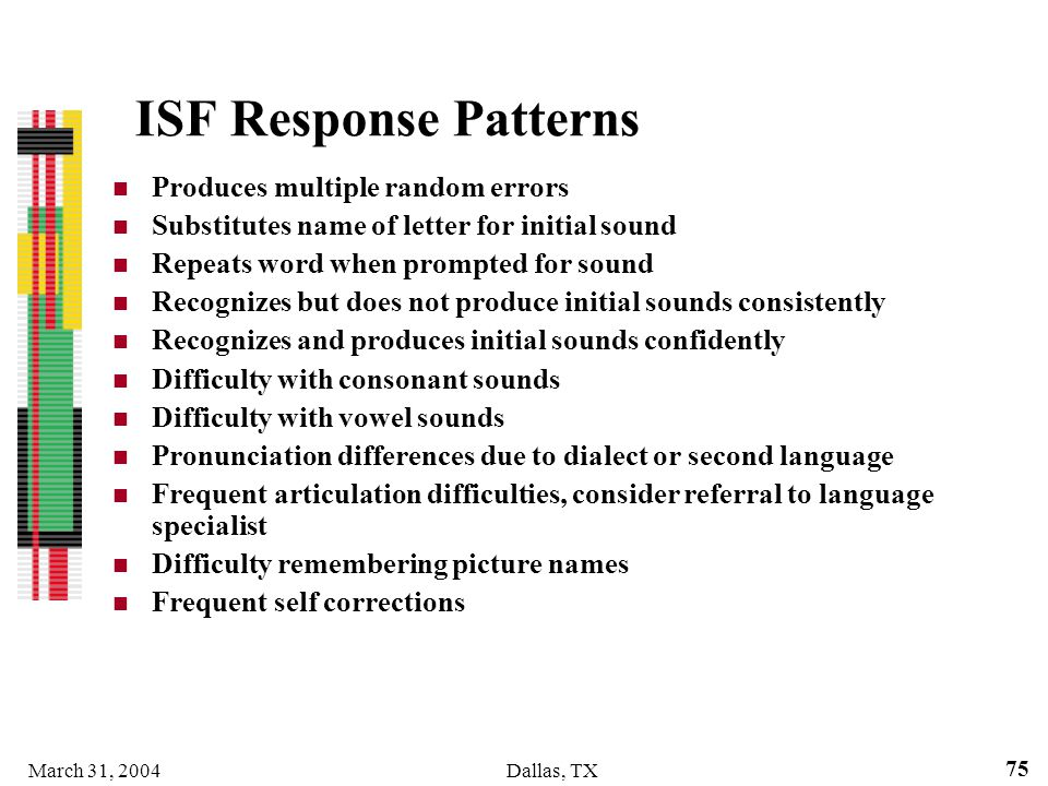 ISF Response Patterns Produces multiple random errors