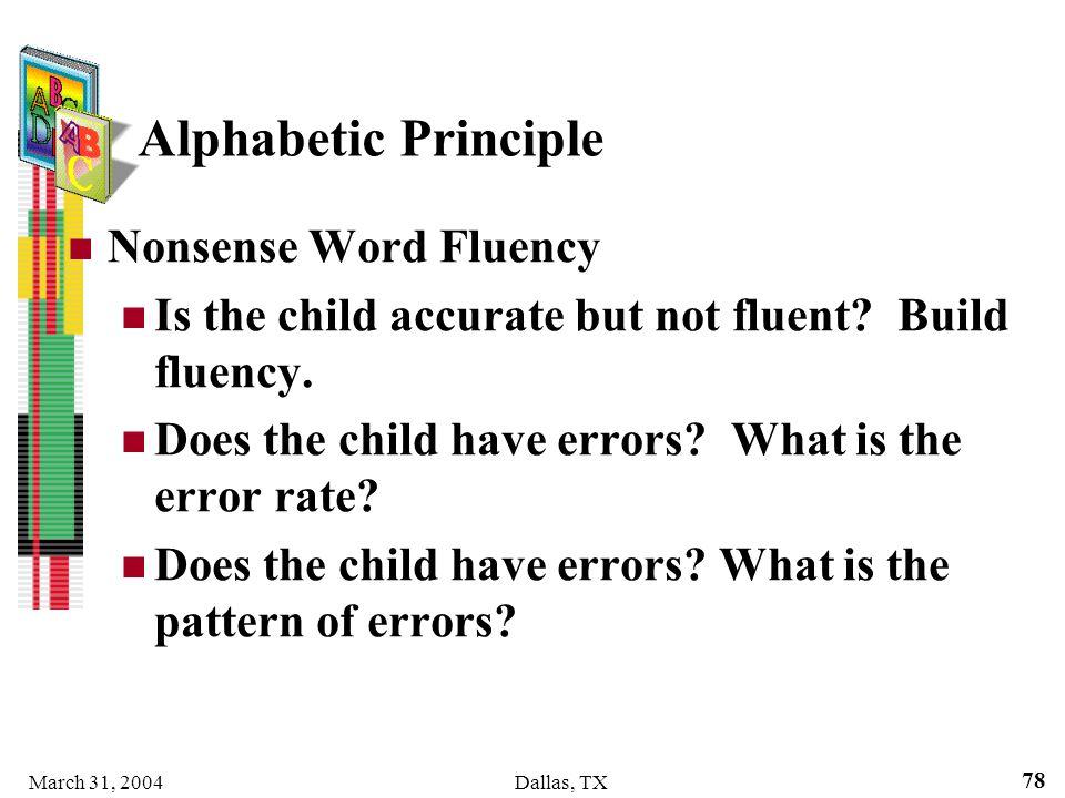 Alphabetic Principle Nonsense Word Fluency