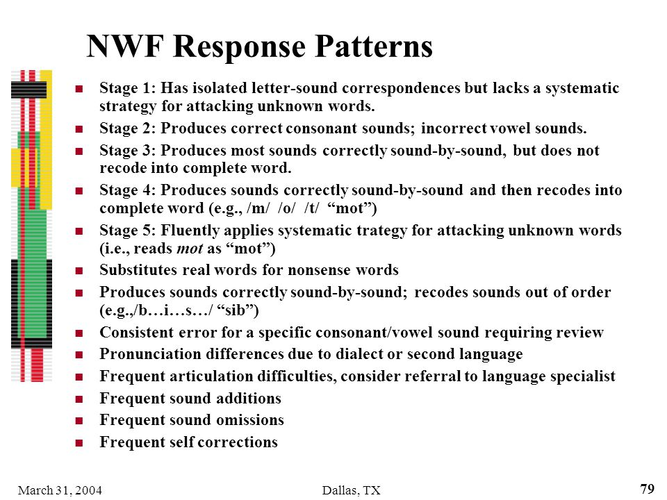 NWF Response Patterns Stage 1: Has isolated letter-sound correspondences but lacks a systematic strategy for attacking unknown words.
