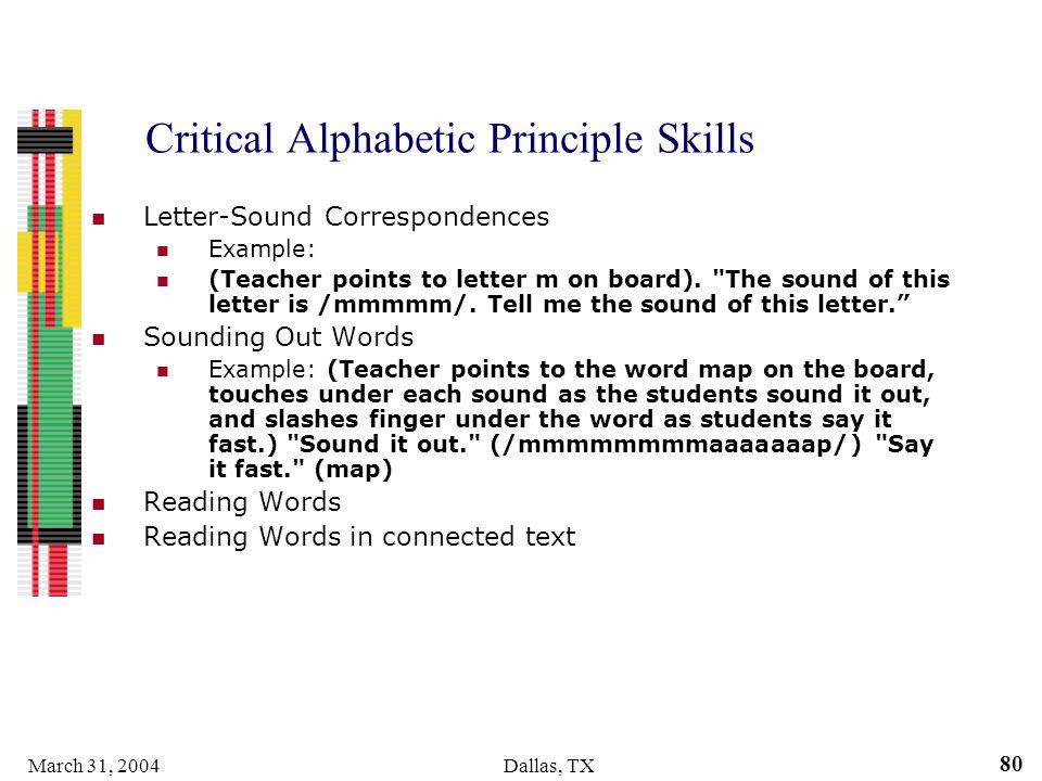Critical Alphabetic Principle Skills