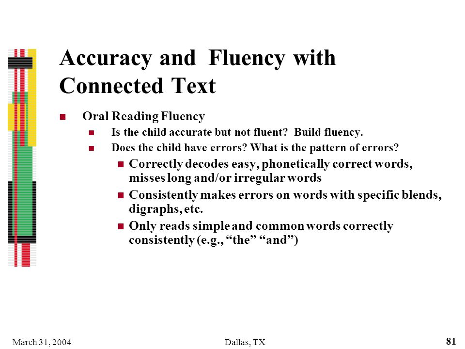 Accuracy and Fluency with Connected Text