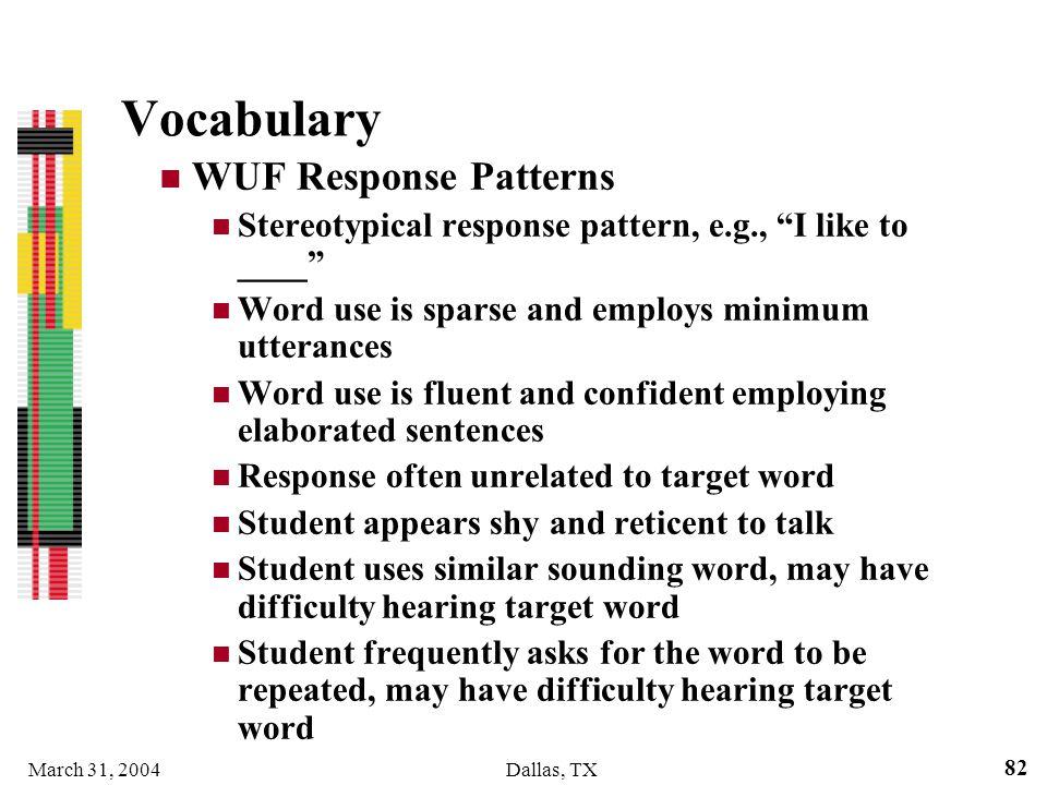 Vocabulary WUF Response Patterns