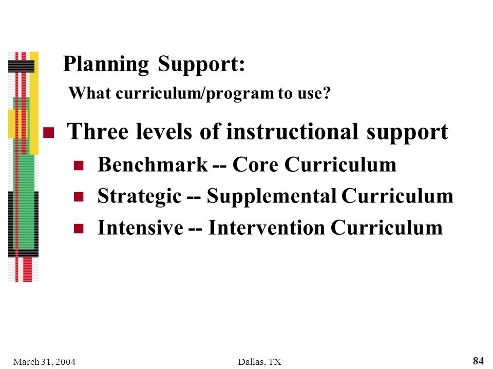Planning Support: What curriculum/program to use