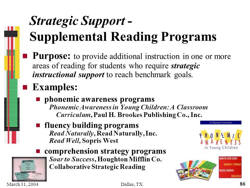 Strategic Support - Supplemental Reading Programs