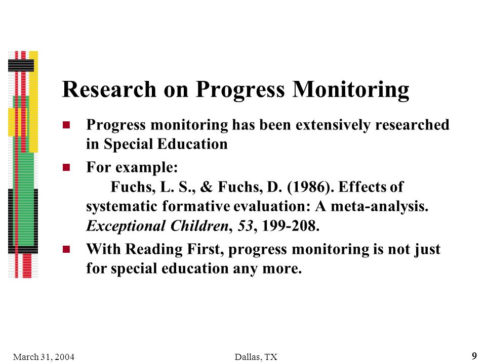 Research on Progress Monitoring