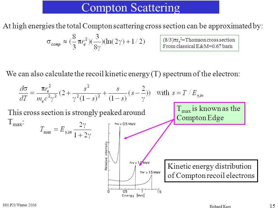 Compton Scattering At high energies the total Compton scattering cross section can be approximated by:
