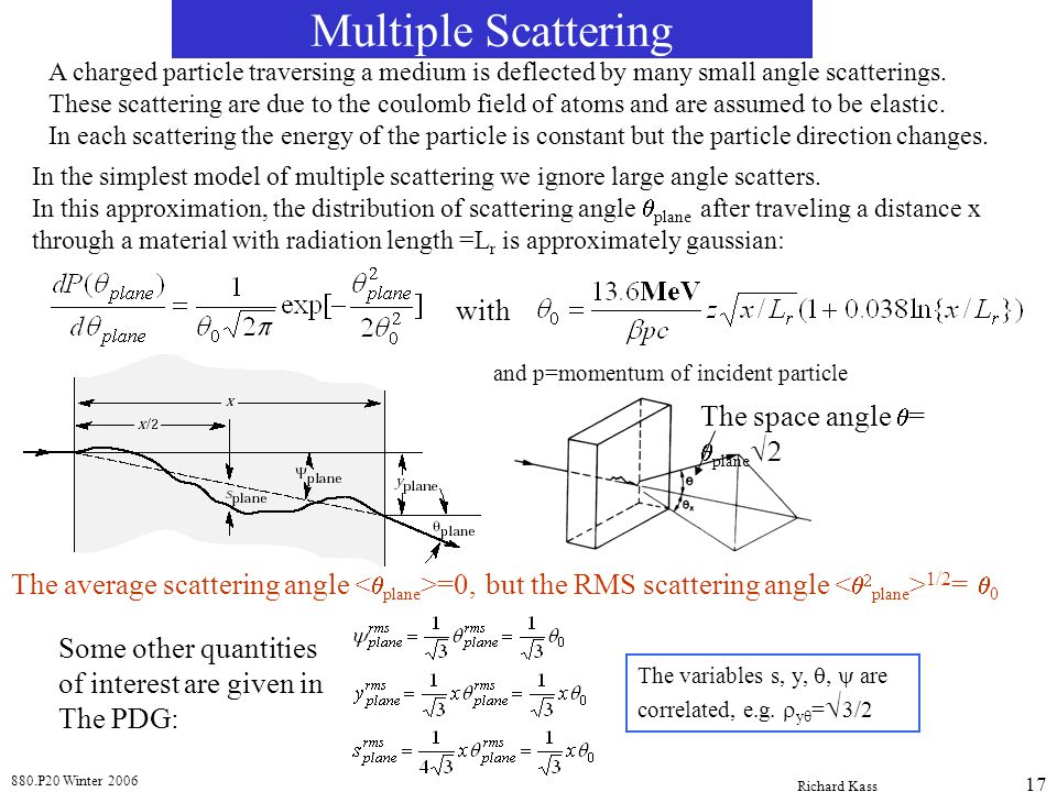 Multiple Scattering with The space angle q= qplaneÖ2
