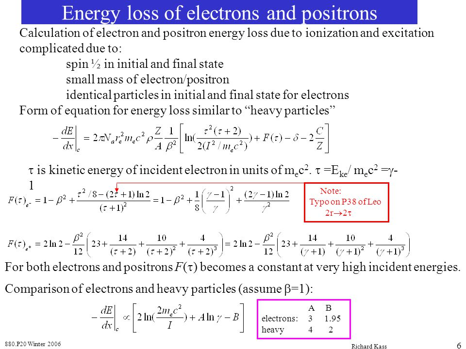 Energy loss of electrons and positrons