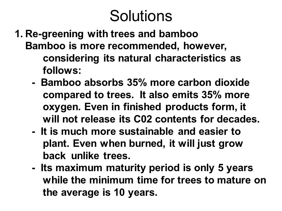 Solutions 1. Re-greening with trees and bamboo