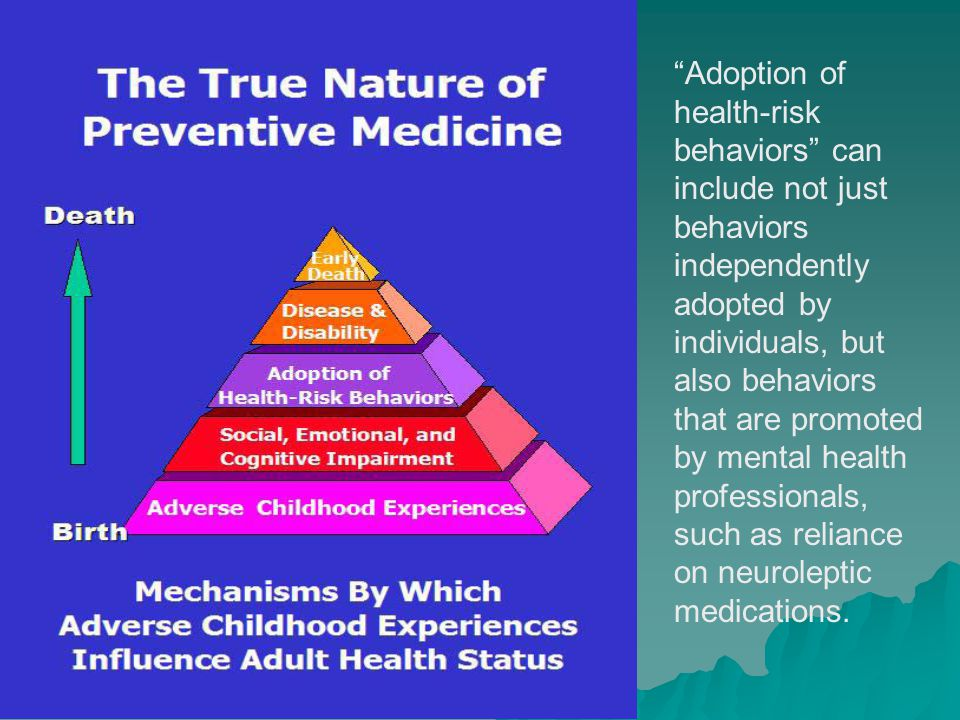 Adoption of health-risk behaviors can include not just behaviors independently adopted by individuals, but also behaviors that are promoted by mental health professionals, such as reliance on neuroleptic medications.