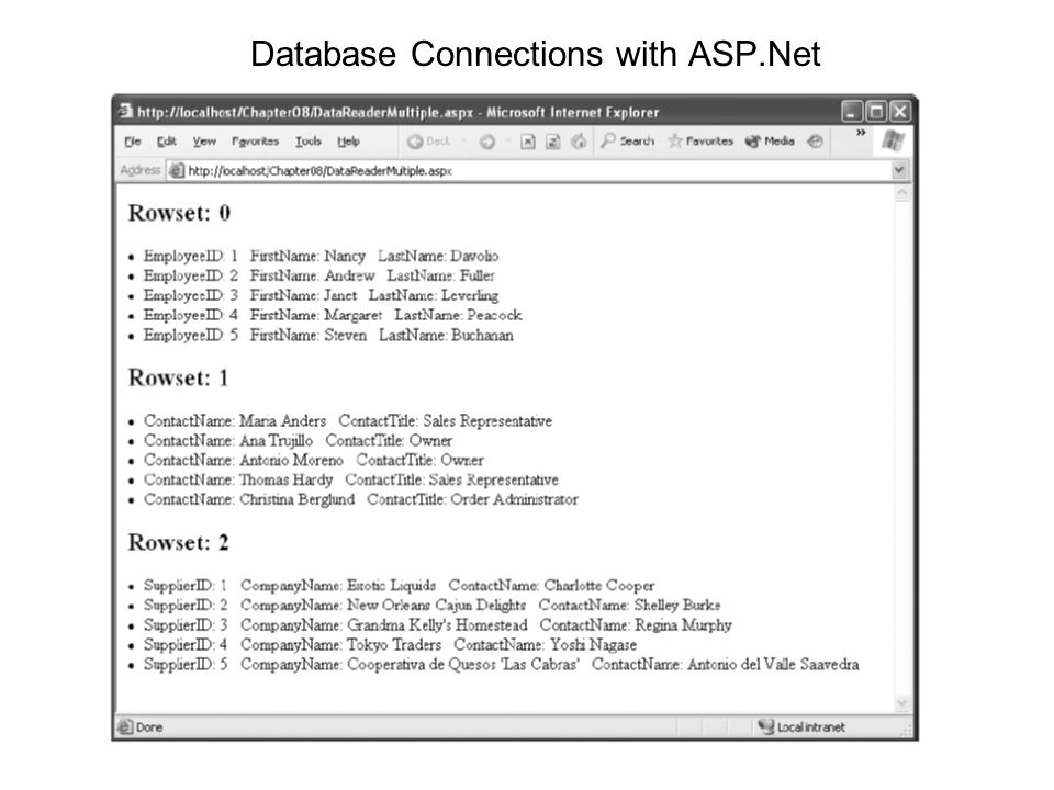 Database Connections with ASP.Net
