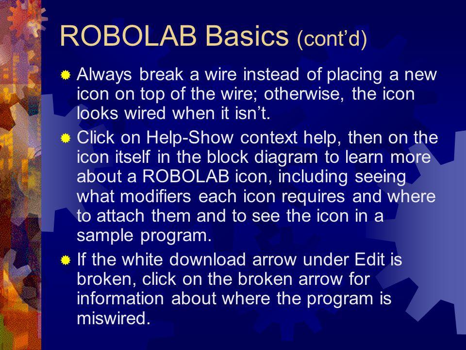 ROBOLAB Basics (cont'd)