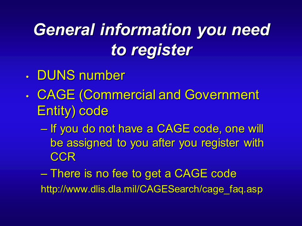 General information you need to register