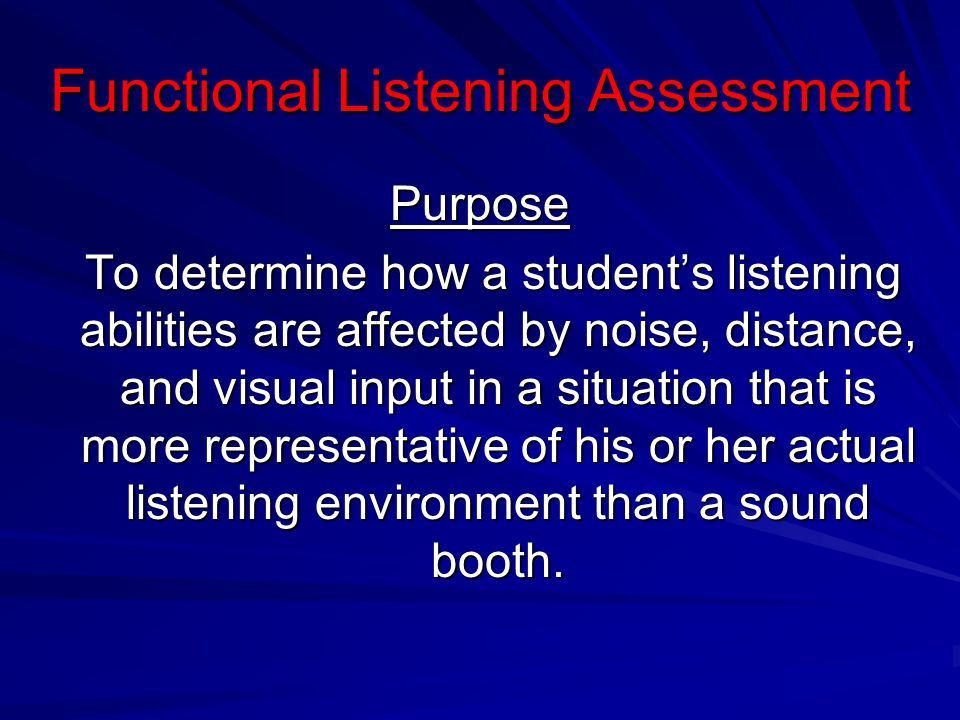Functional Listening Assessment