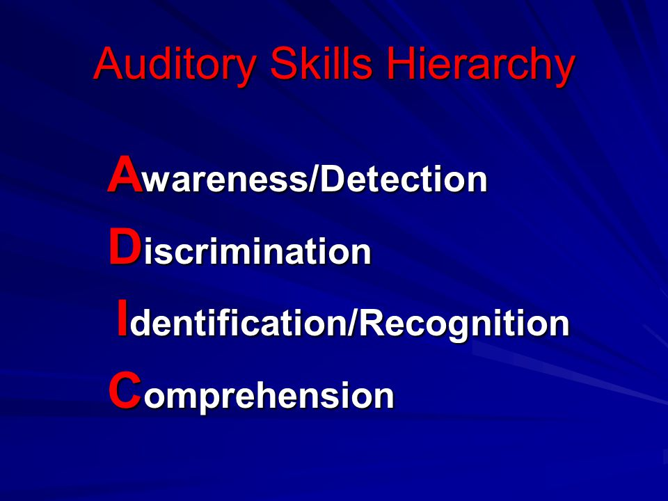 Auditory Skills Hierarchy