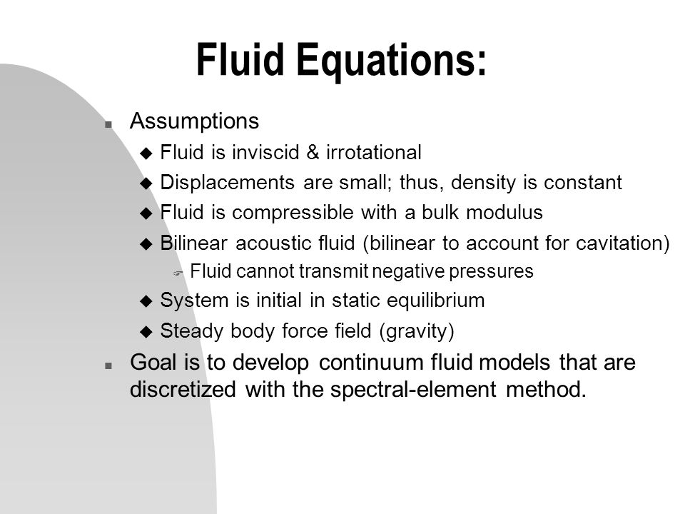 Fluid Equations: Assumptions
