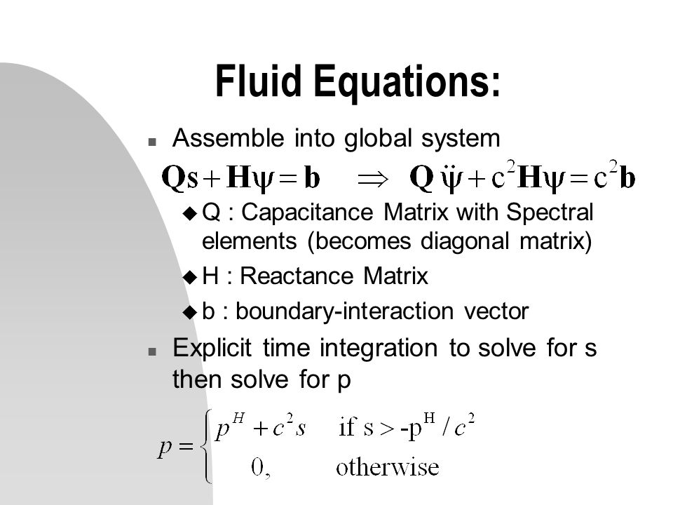 Fluid Equations: Assemble into global system