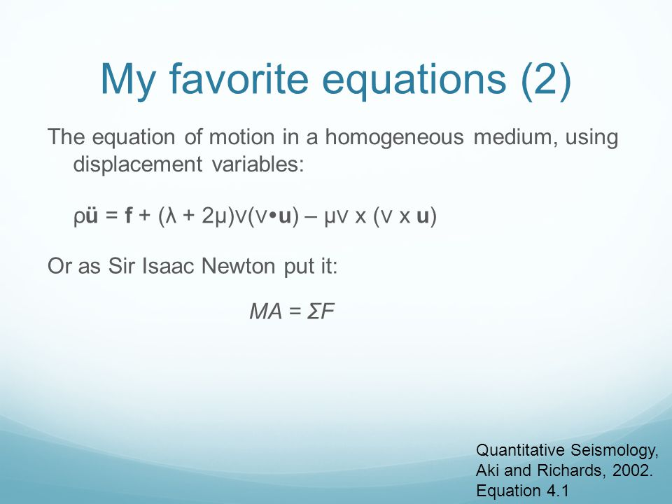 My favorite equations (2)