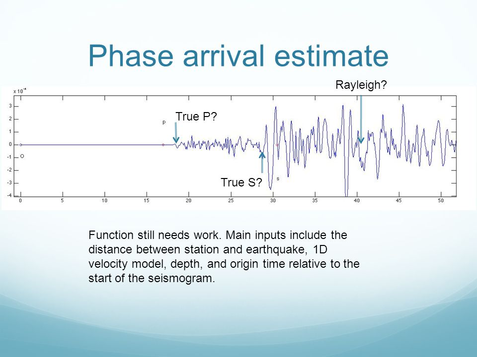Phase arrival estimate
