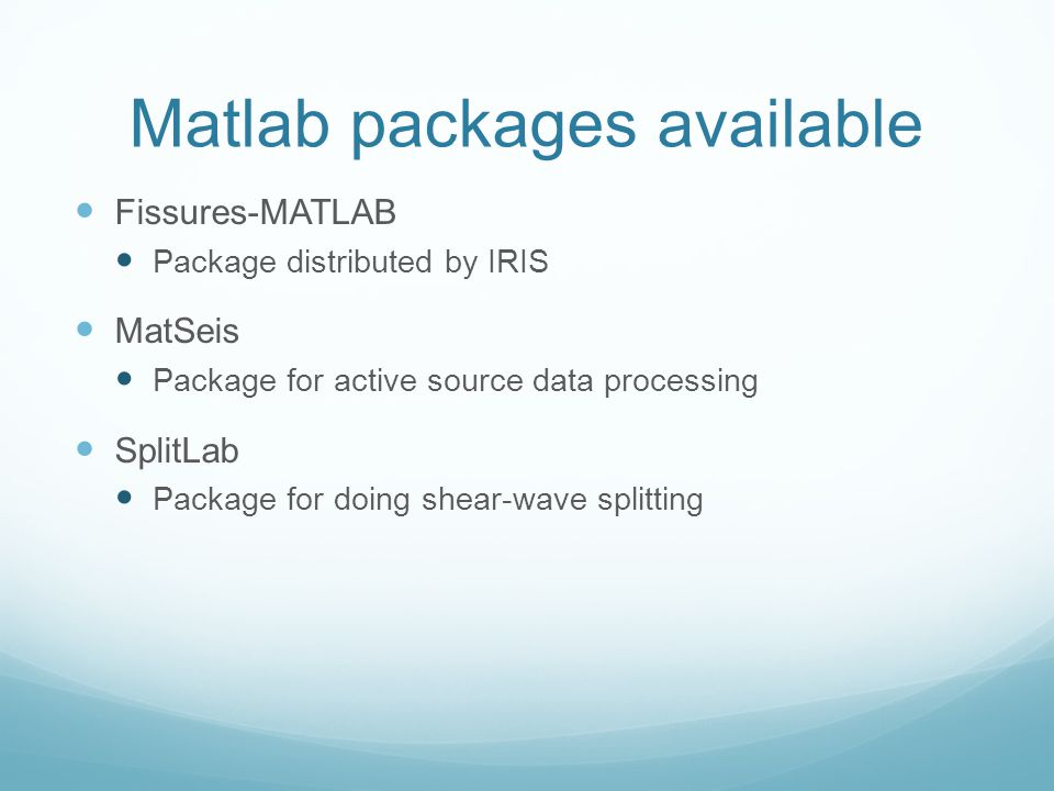 Matlab packages available