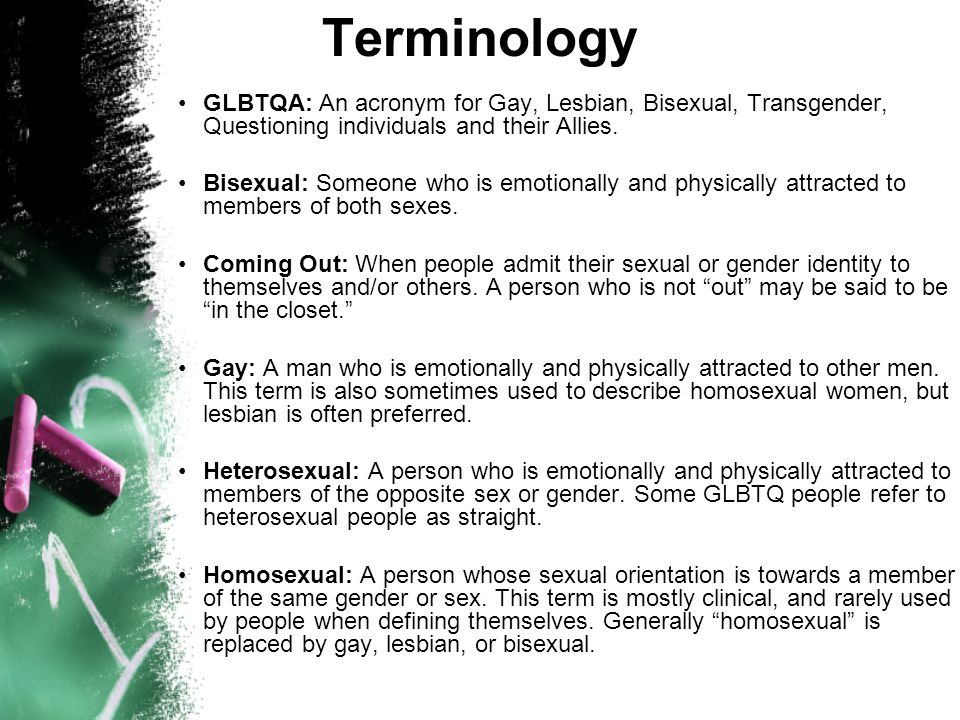 Terminology GLBTQA: An acronym for Gay, Lesbian, Bisexual, Transgender, Questioning individuals and their Allies.