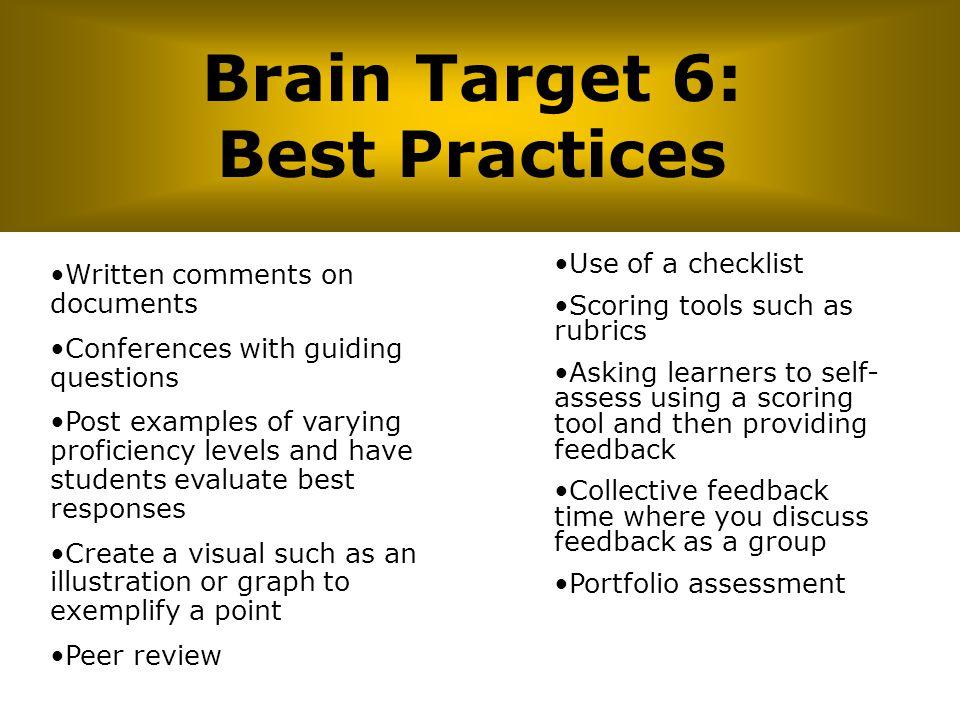 Brain Target 6: Best Practices