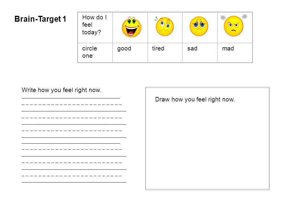 Brain-Target 1 How do I feel today circle one good tired sad mad