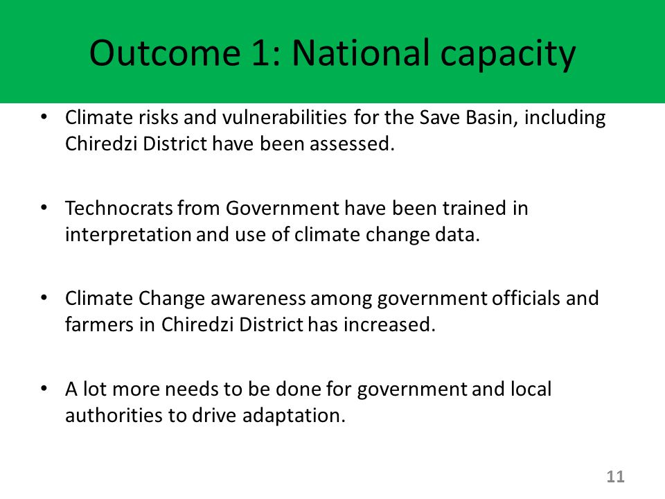 Outcome 1: National capacity