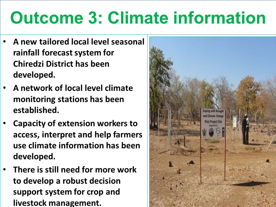 Outcome 3: Climate information