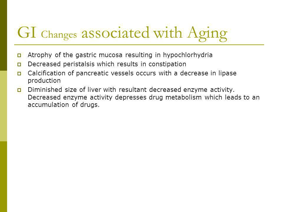 GI Changes associated with Aging
