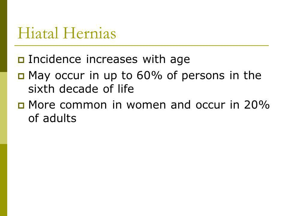 Hiatal Hernias Incidence increases with age