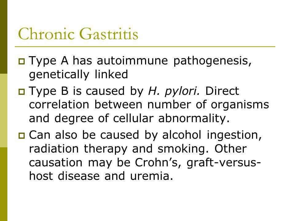 Chronic Gastritis Type A has autoimmune pathogenesis, genetically linked.