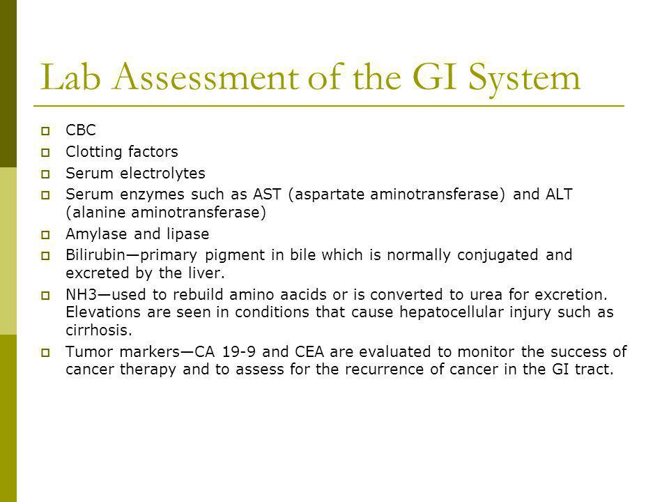 Lab Assessment of the GI System