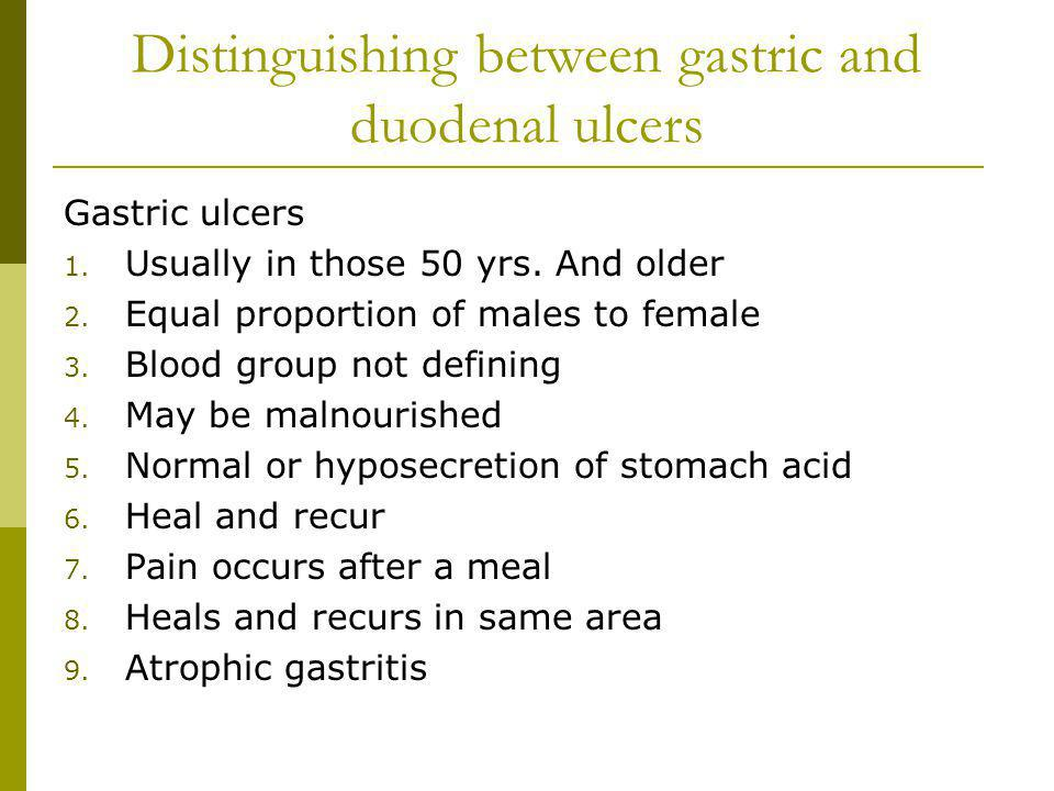 Distinguishing between gastric and duodenal ulcers