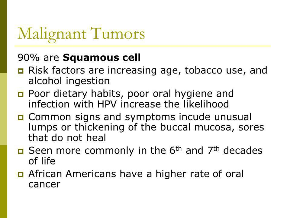 Malignant Tumors 90% are Squamous cell